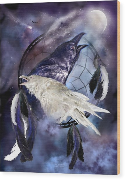 The White Raven Wood Print