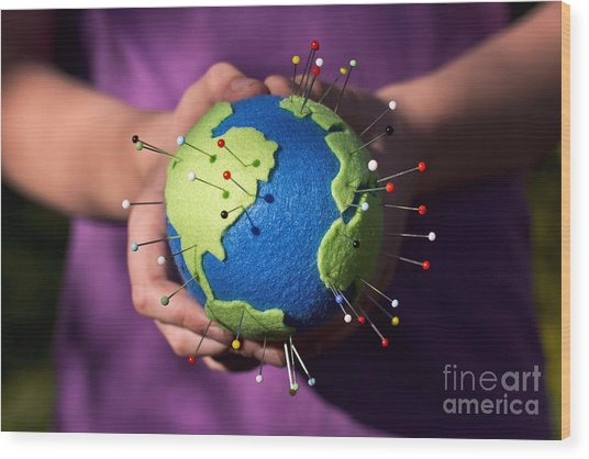 The Whole World In Your Hands Wood Print by Catherine MacBride