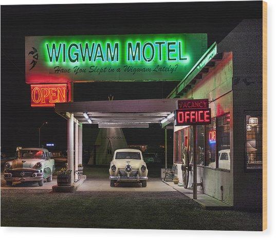 The Wigwam Motel Neon Wood Print