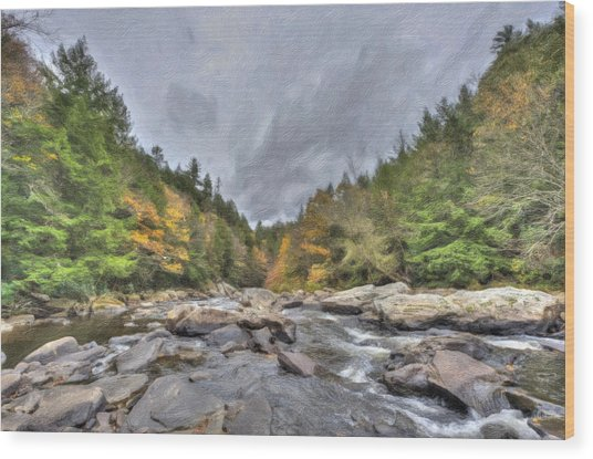 The Wild River Oil Painting Wood Print