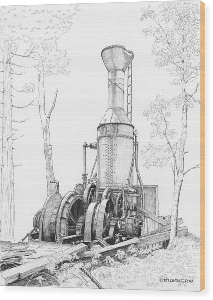 The Willamette Steam Donkey Wood Print