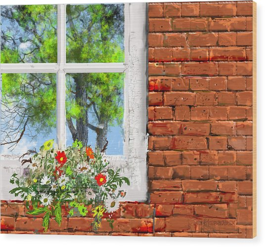 The Window Triptych Summer Wood Print by Jim Hubbard