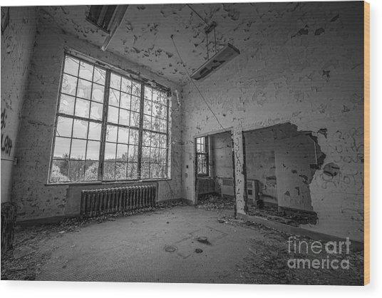 The Window View Bw Wood Print