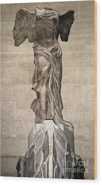 The Winged Victory Of Samothrace Marble Sculpture Of The Greek Goddess Nike Victory Wood Print by Gregory Dyer