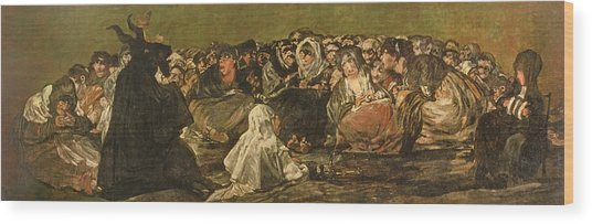 The Witches Sabbath Or The Great He-goat, One Of The Black Paintings, C.1821-23 Oil On Canvas Wood Print