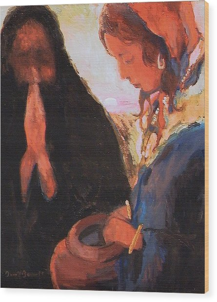 The Woman At The Well Wood Print