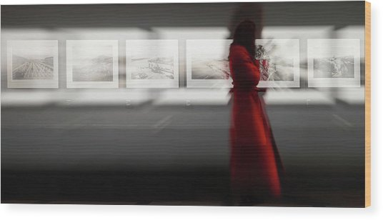 The Woman With The Red Coat Wood Print
