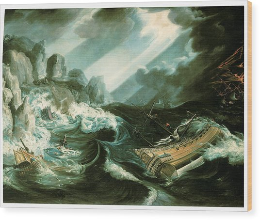 The Wreck Of The Amsterdam Wood Print by Flemish School