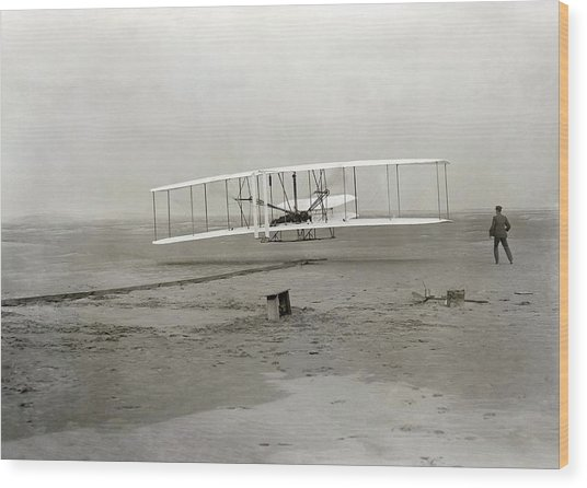 The Wright Brothers' First Powered Wood Print