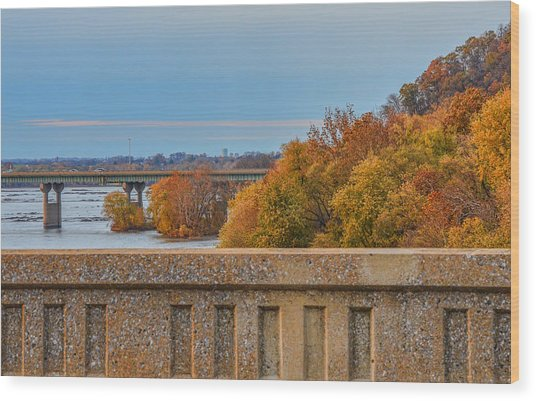 The Wright's Ferry Bridge In Fall Wood Print