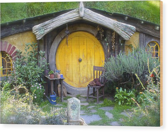 Yellow Hobbit Door Wood Print