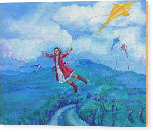 The Yellow Kite  Wood Print