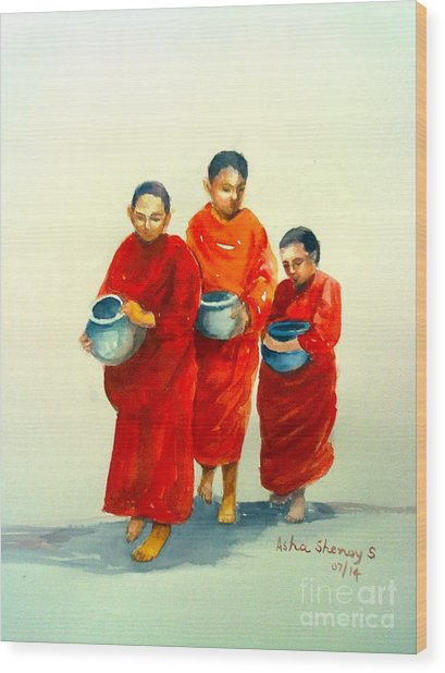 The Young Monks Wood Print