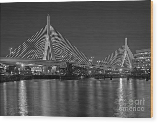 The Zakim Bridge Bw Wood Print