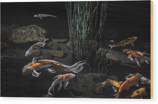The Zen Of Koi Wood Print