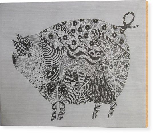 The Zen Pig Wood Print