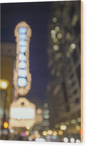 Theater Marquee Lights On Broadway Bokeh Background Wood Print
