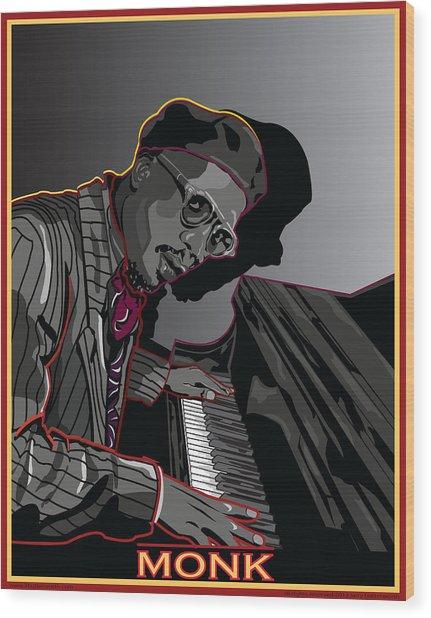 Thelonius Monk Legendary Jazz  Pianist Wood Print by Larry Butterworth