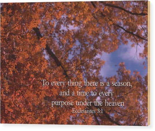 There Is A Season Ecclesiastes Wood Print