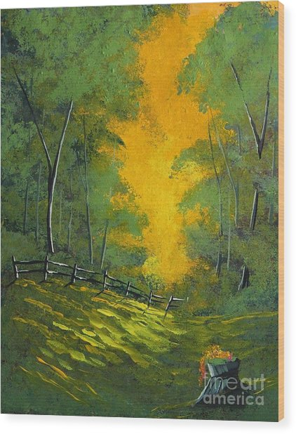 Thinking Green Wood Print