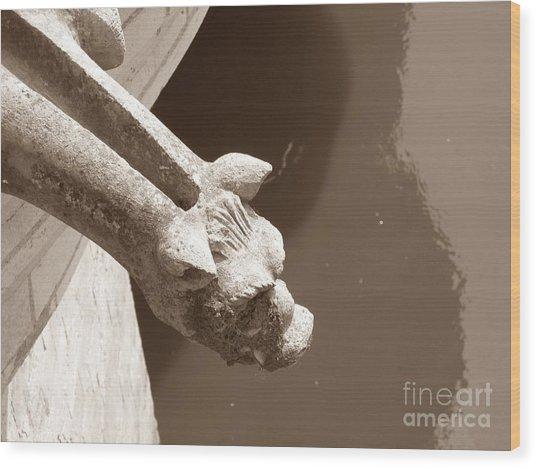 Thirsty Gargoyle - Sepia Wood Print