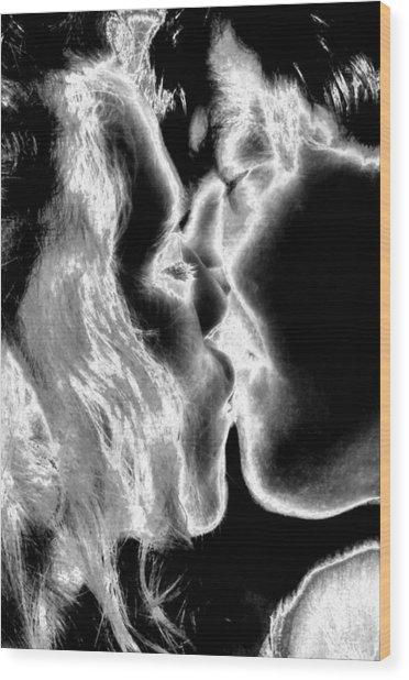 This Kiss Wood Print by Rebecca Flaig