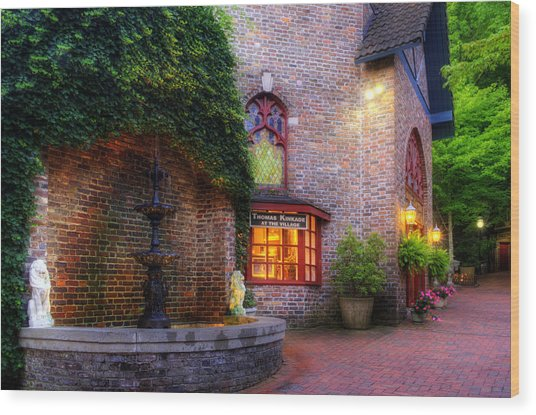 Thomas Kinkade At The Village In Gatlinburg Wood Print