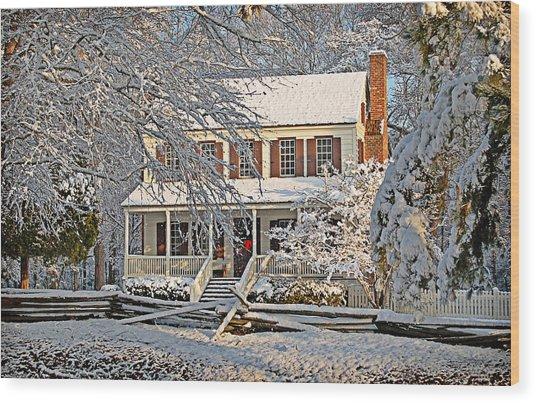 Thorntree In Snow Wood Print