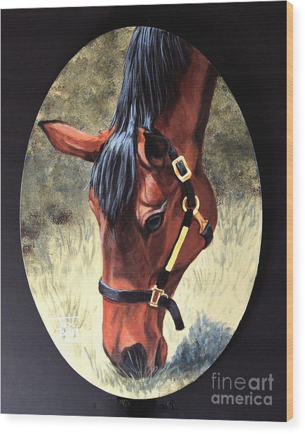 Thoroughbred Head Wood Print