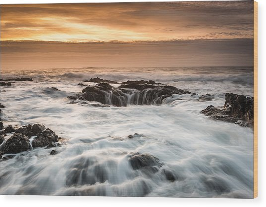 Thor's Well Wood Print by Mike  Walker