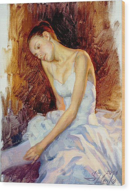 Thoughtful Young Ballerina Wood Print