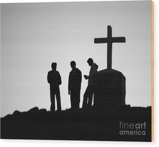 Three At The Cross Wood Print
