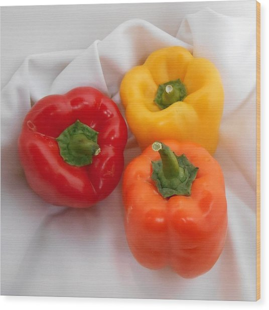 Three Bell Peppers Red Orange And Yellow Food Fine Art Wood Print
