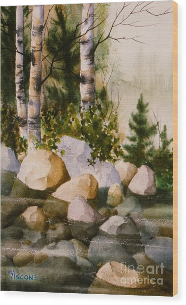 Three Birch By Rocky Stream Wood Print