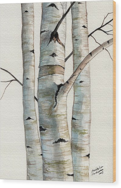 Three Birch Trees Wood Print