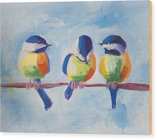 Three Birds Wood Print