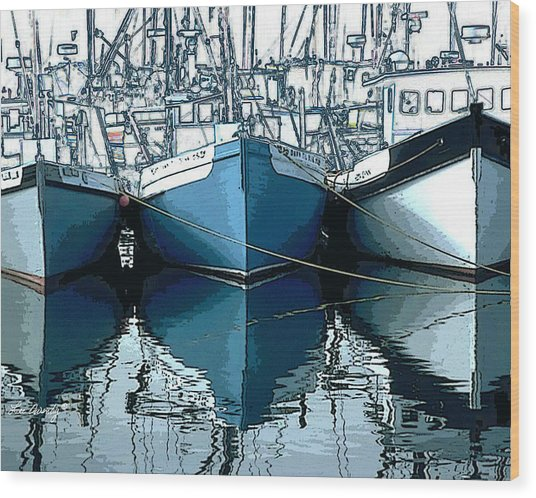 Three Boats In Blue Wood Print
