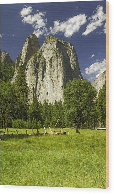 Three Brothers-yosemite Series 07 Wood Print by David Allen Pierson