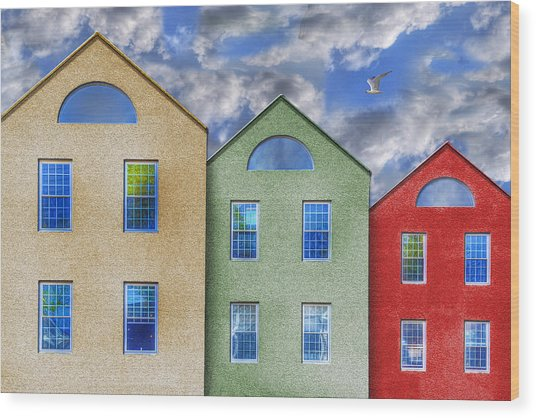 Three Buildings And A Bird Wood Print