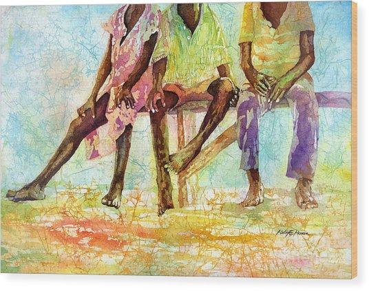 Three Children Of Ghana Wood Print