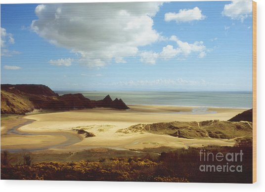 Three Cliffs Bay On The Gower Wood Print