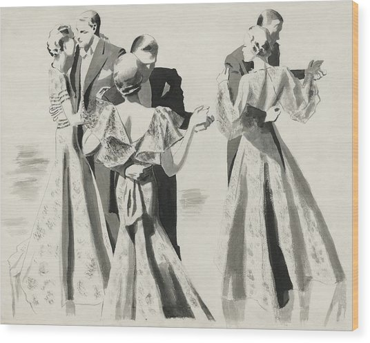 Three Couples Dancing Wood Print by Pierre Mourgue