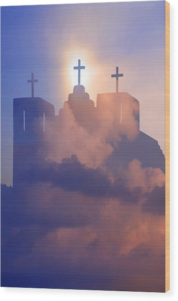 Three Crosses Wood Print by Jim Zuckerman