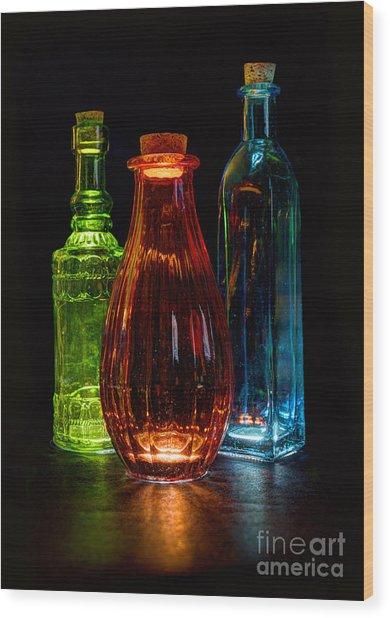 Three Decorative Bottles Wood Print