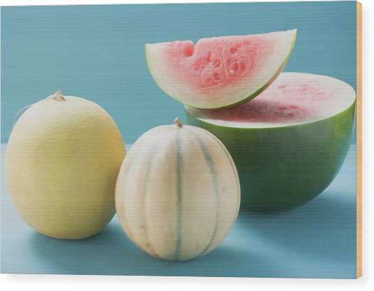Three Different Melons Wood Print