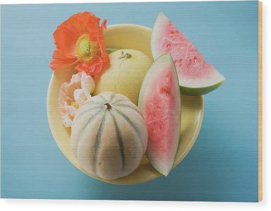 Three Different Melons In Bowl (overhead View) Wood Print