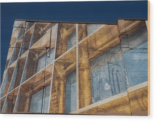Three Dimensional Optical Illusions - Trompe L'oeil On A Brick Wall Wood Print