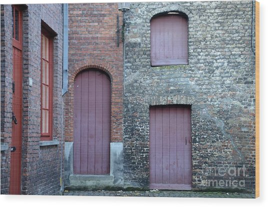 Three Doors And Two Windows Bruges, Belgium Wood Print