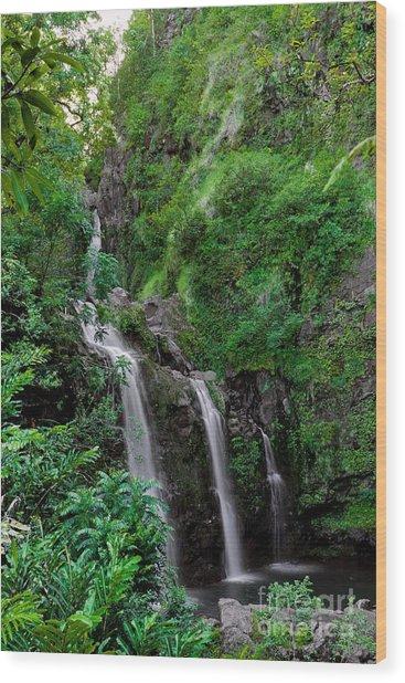 Three Falls On The Road To Hana Wood Print