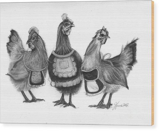 Three French Hens Wood Print